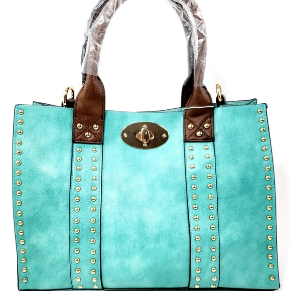 Handbags - Women 2 in 1 Studded Handbag Satchel Shoulder Bag